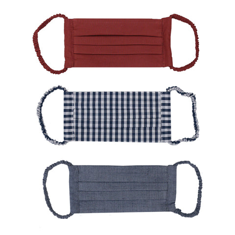Set of 3 Masks- brique, checked and denim