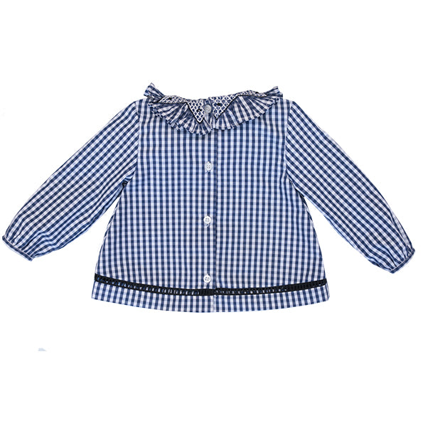 Zoe baby blouse- checked blue