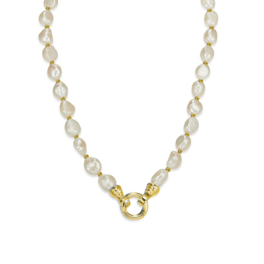 Gold Baroque Pearl Necklace 49cm (4573574889558)