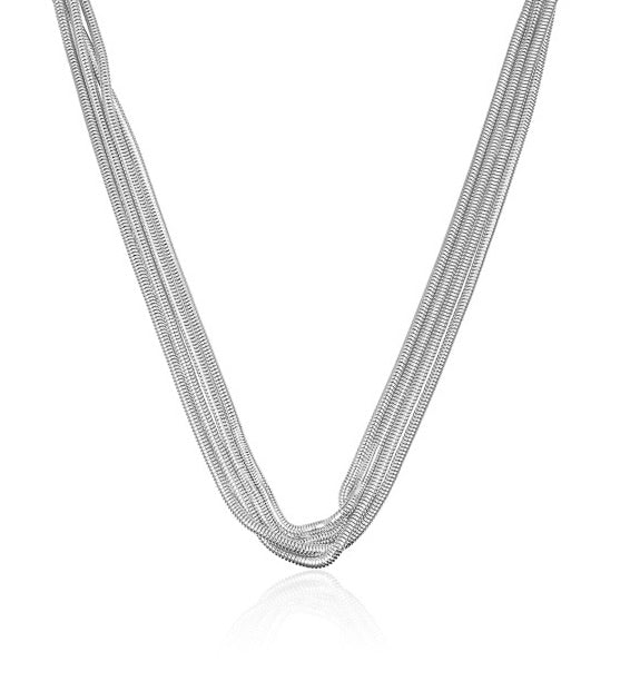 1 ONLY - WOW Luxe 7 Strand Medusa Necklace Silver 49cm