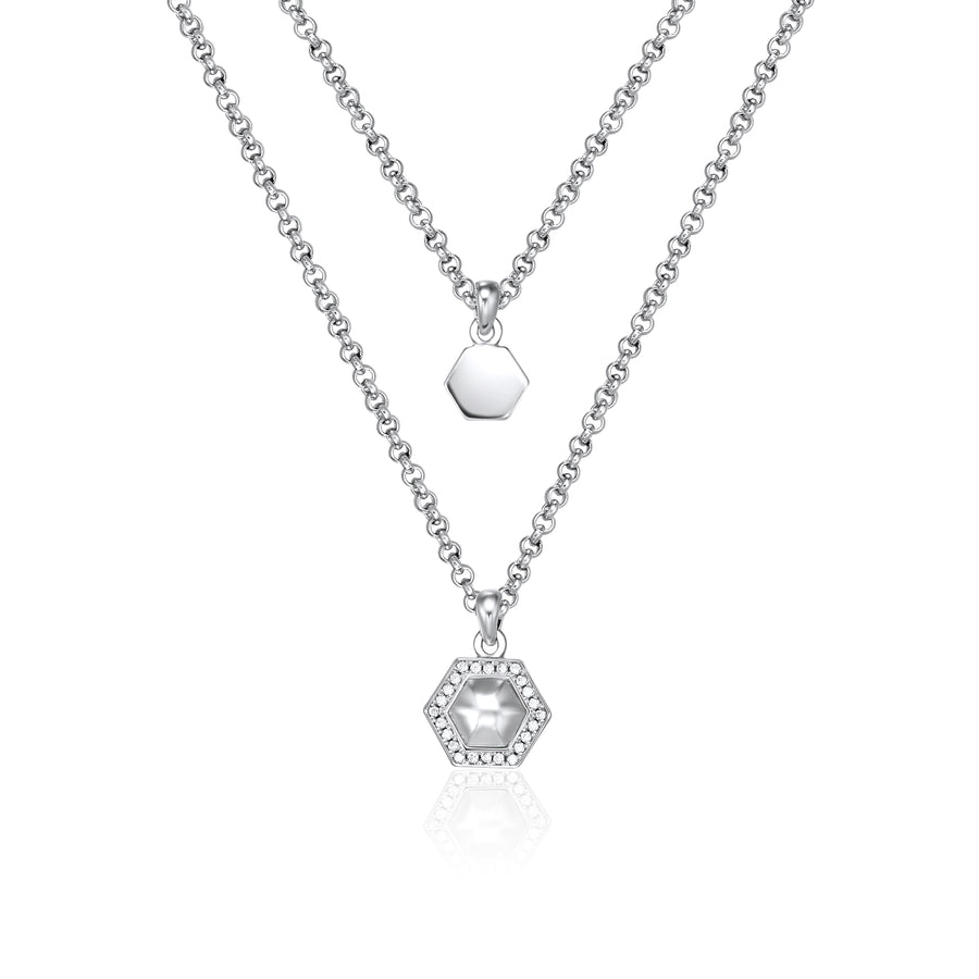 Sterling Silver Geometry Layered Necklace - 925 Silver