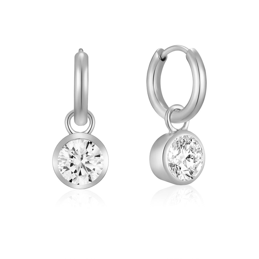 Silver Solitaire Ear Charms (3926680109142)