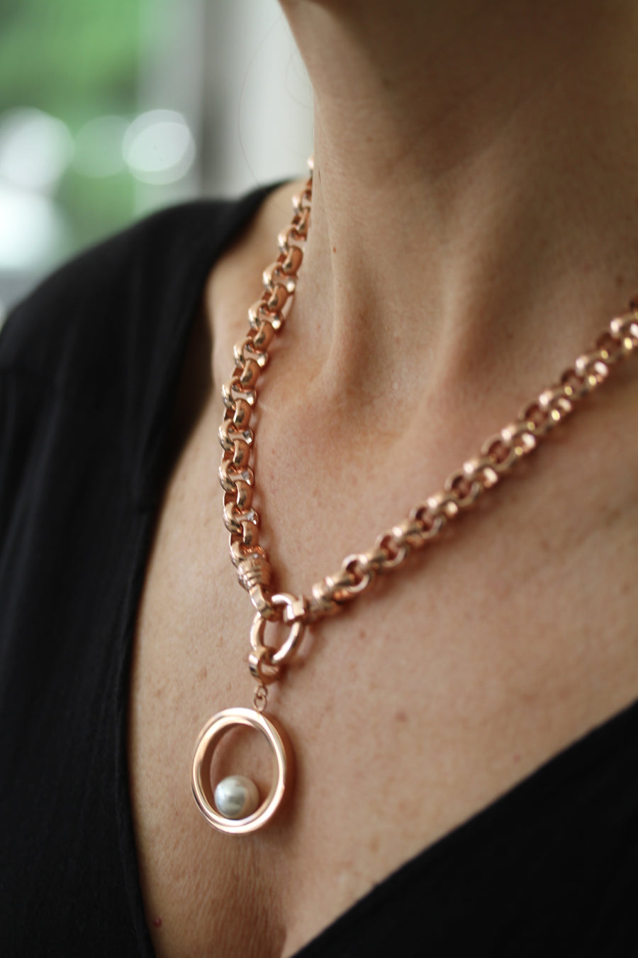 Rose Gold Steel Me Necklace 49cm (3926665625686)