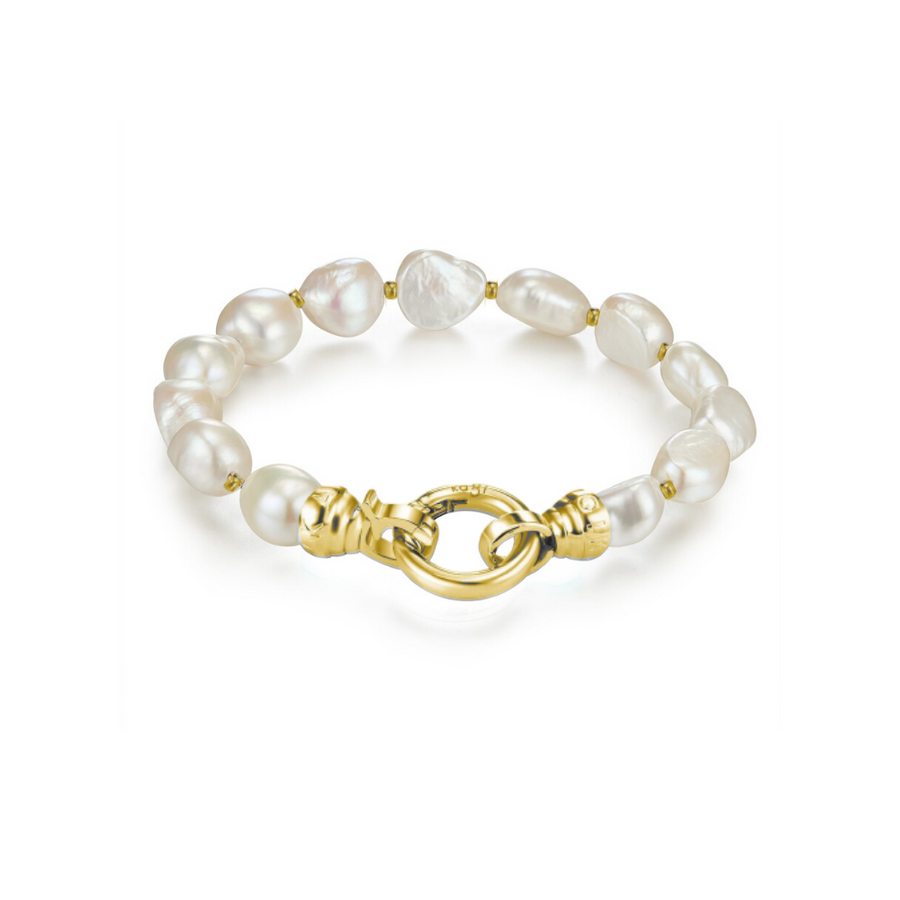 Gold Baroque Pearl Bracelet Medium (3926678667350)