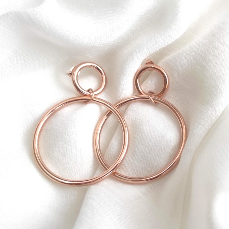 Online Exclusive! 14k Rose Duo Hoops
