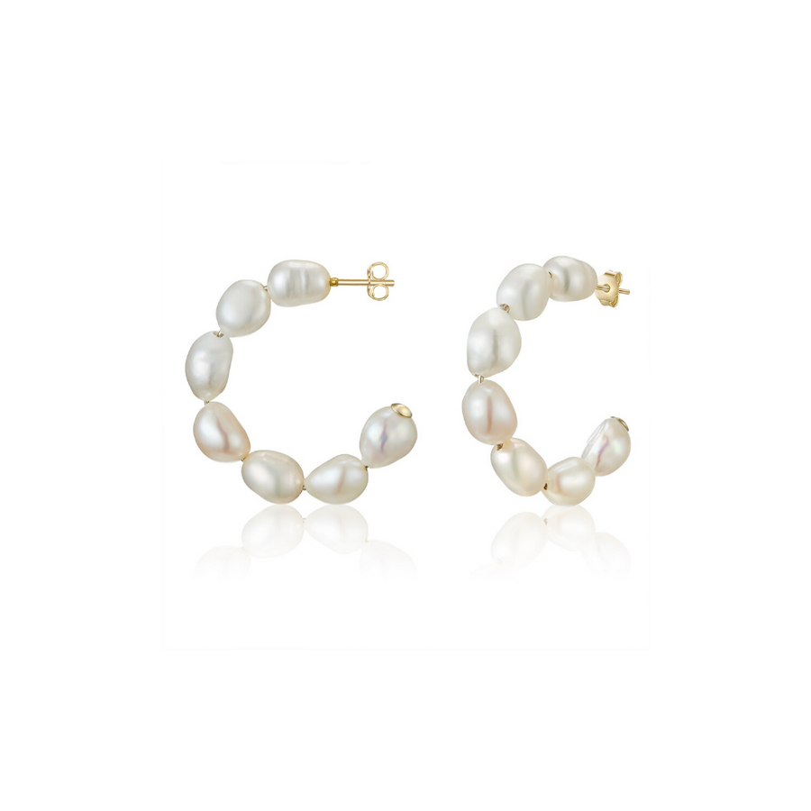Gold Baroque Pearl Hoops - Petite