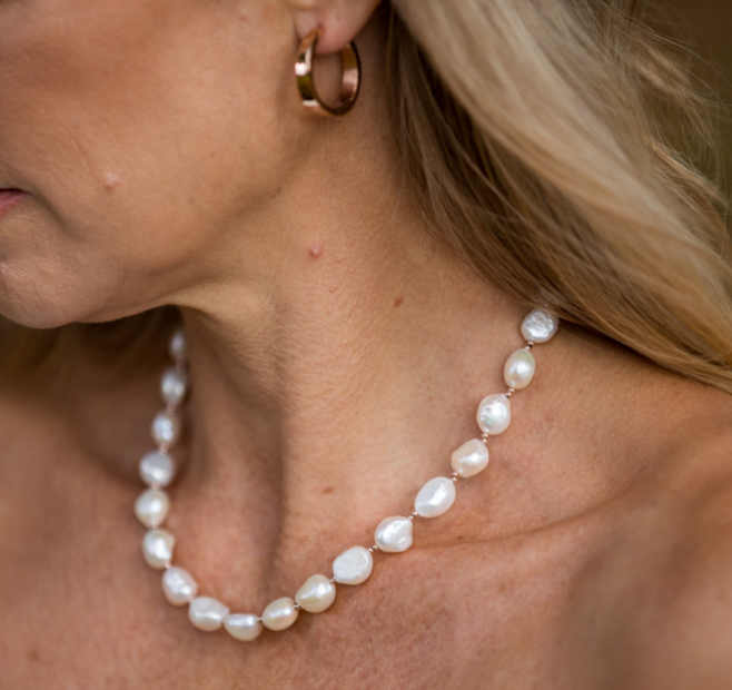 Rose Baroque Pearl Necklace 49cm