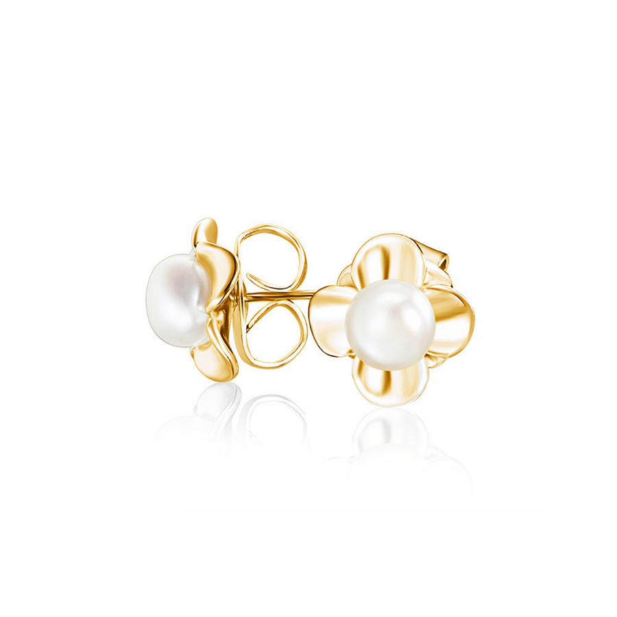 Gold Pearl Dahlia Studs (3944474345558)