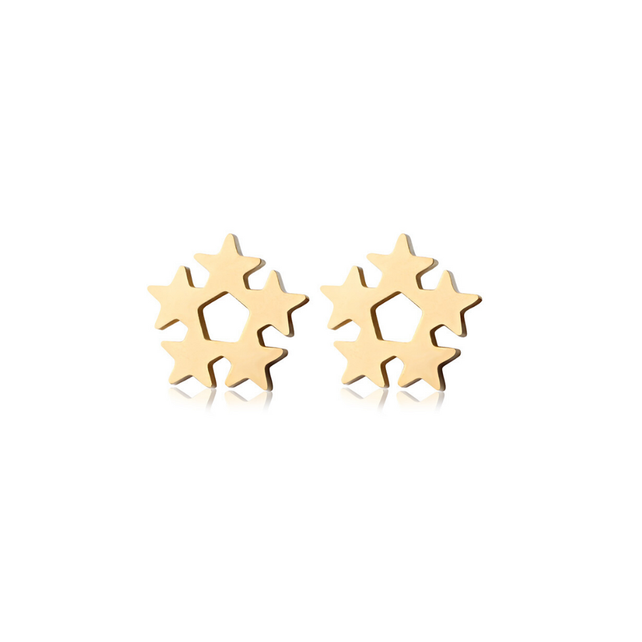 Gold Star Cluster Studs (3926685253718)