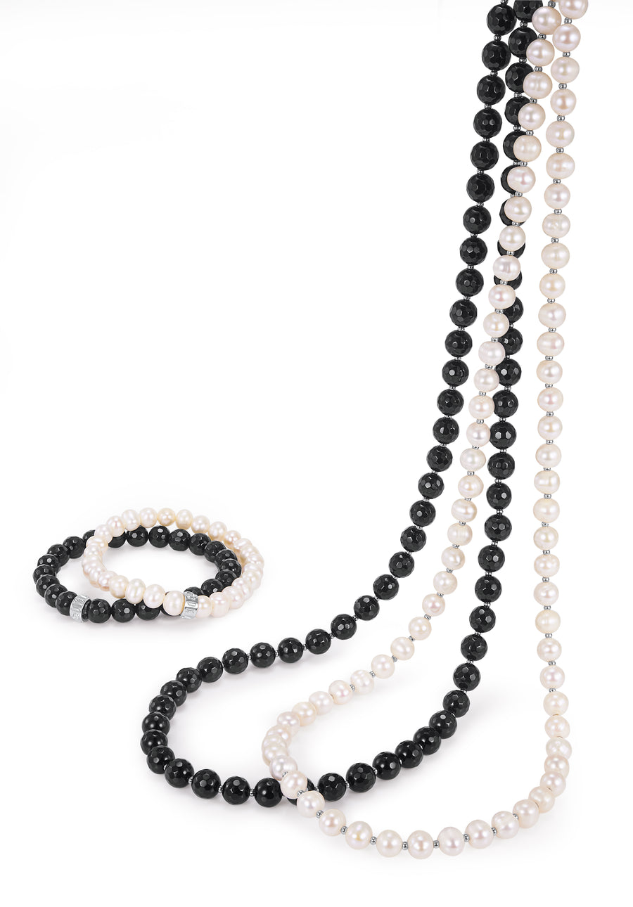 Jet Agate Petite Long Necklace 88cm