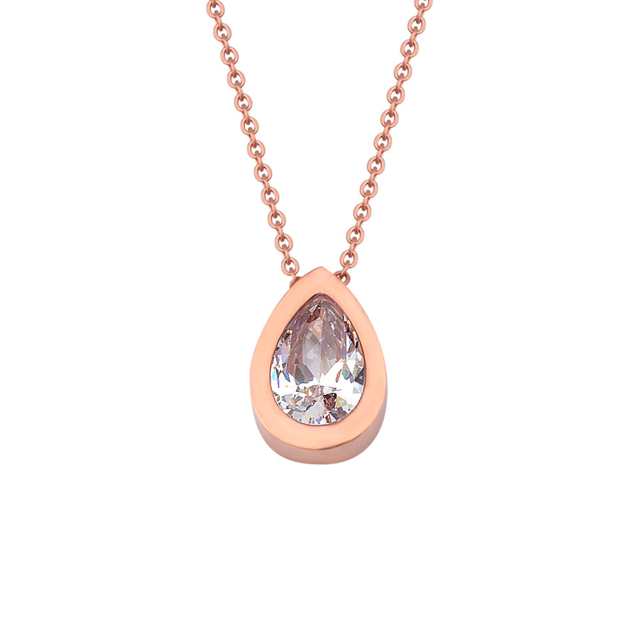 Rose Brilliant-cut Teardrop Necklace