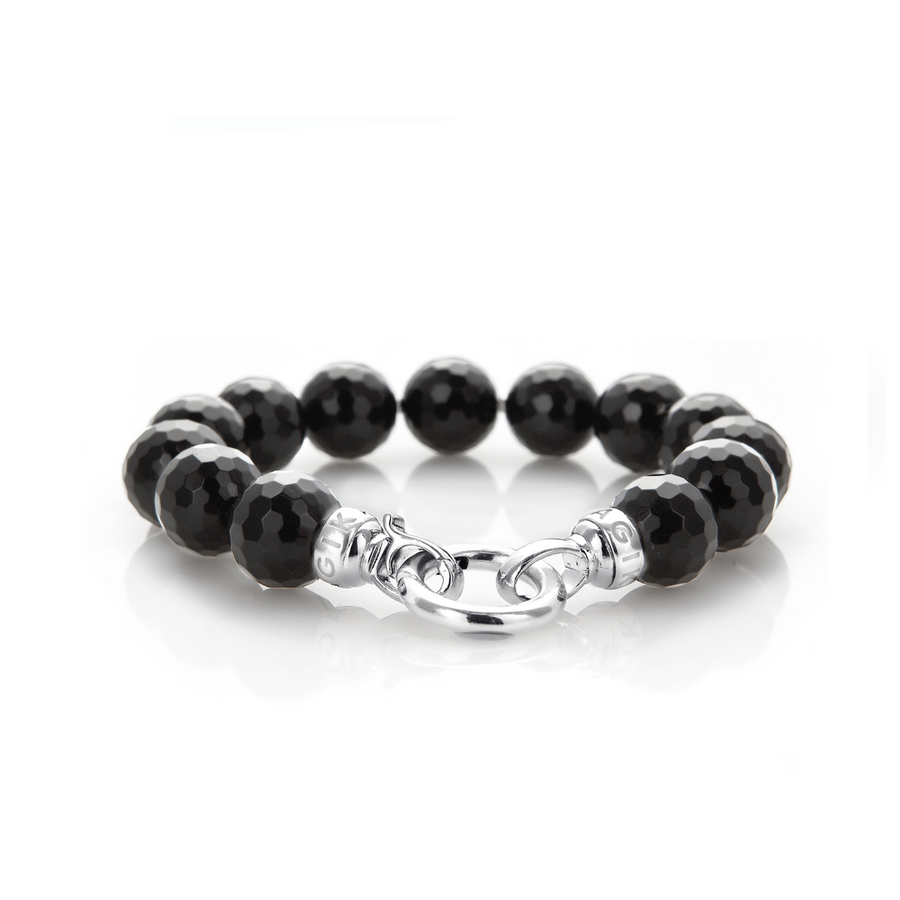 Jet Black Agate Bracelet - Medium