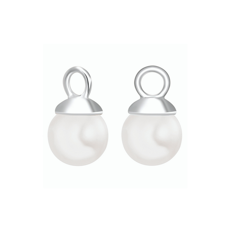 Silver Pearl Drop Ear Charms (3926680207446)