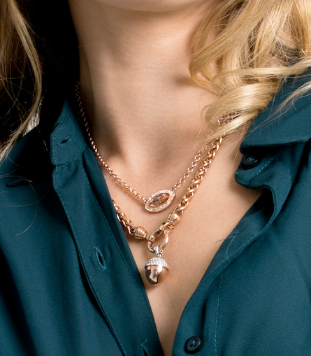 Rose Gold Helix Chain Necklace 49cm
