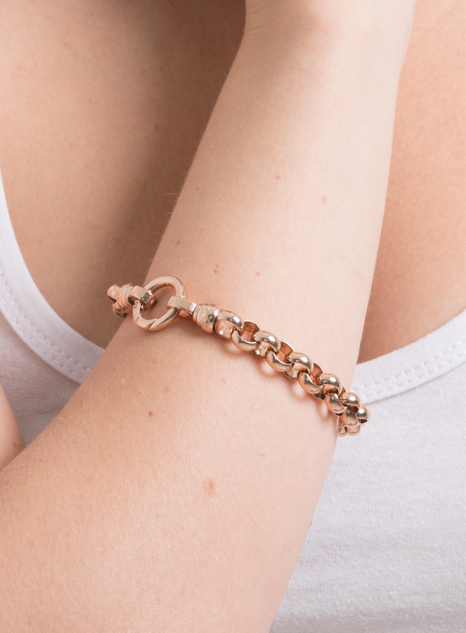 Rose Gold Steel Me Bracelet Medium (3926665560150)