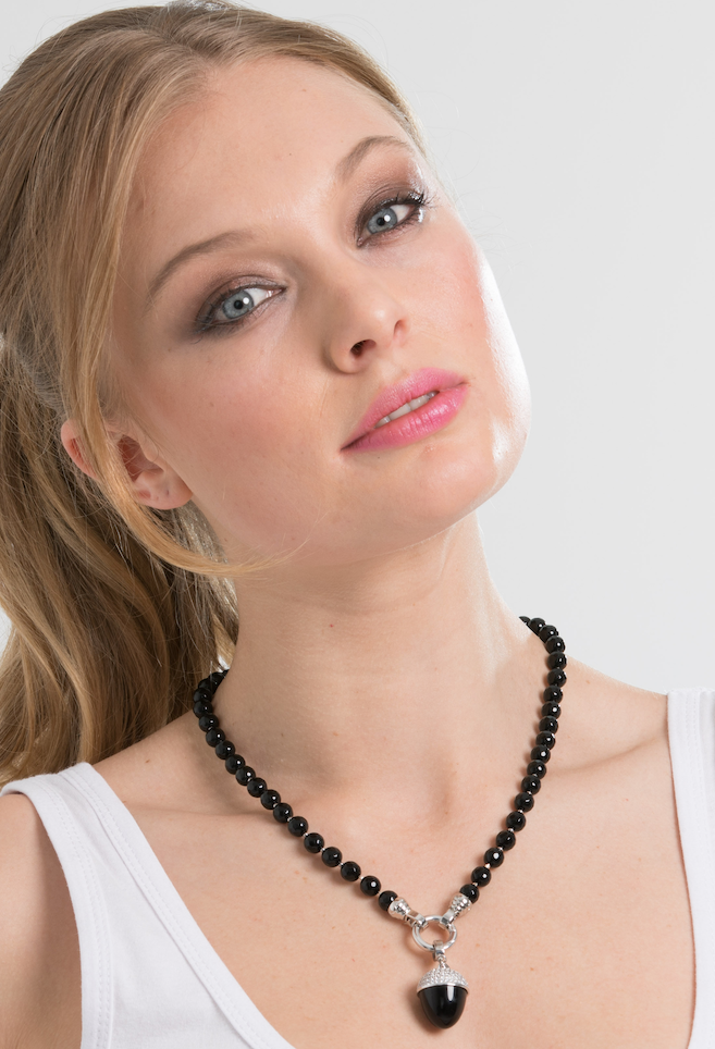 Jet Black Agate Necklace 49cm