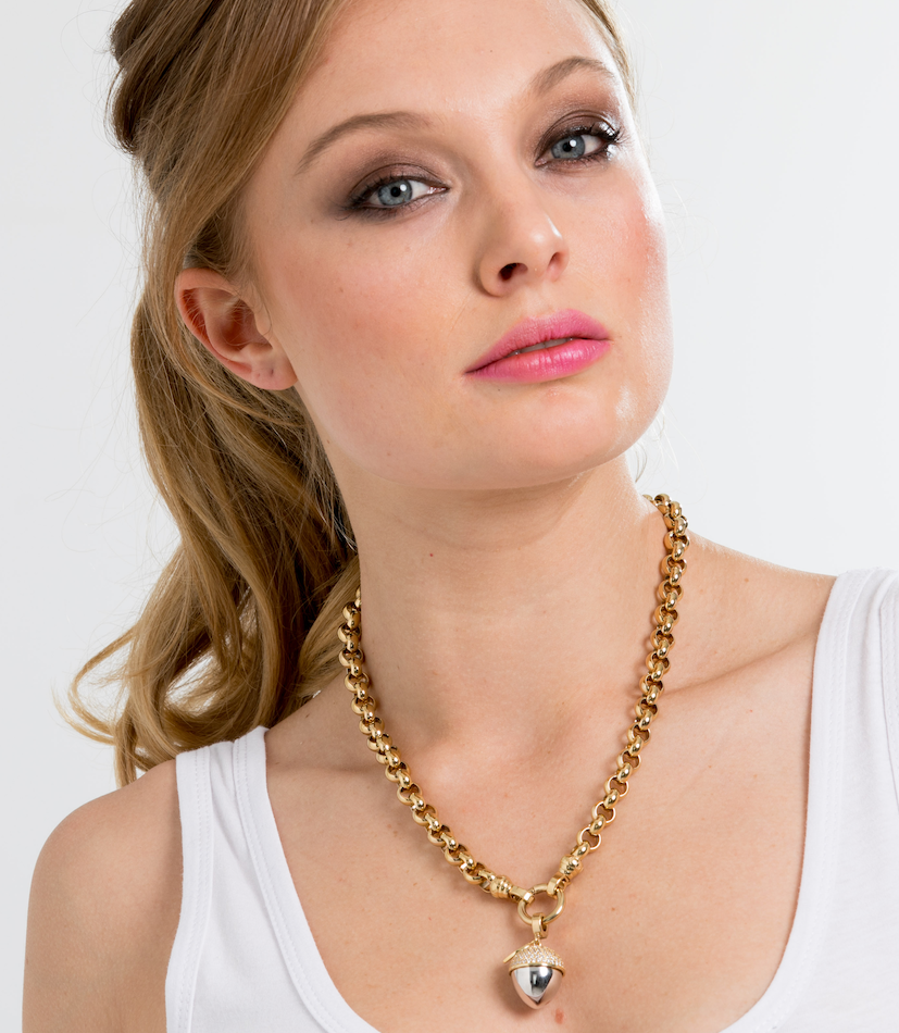 Gold Steel Me Necklace 49cm (3926672408662)