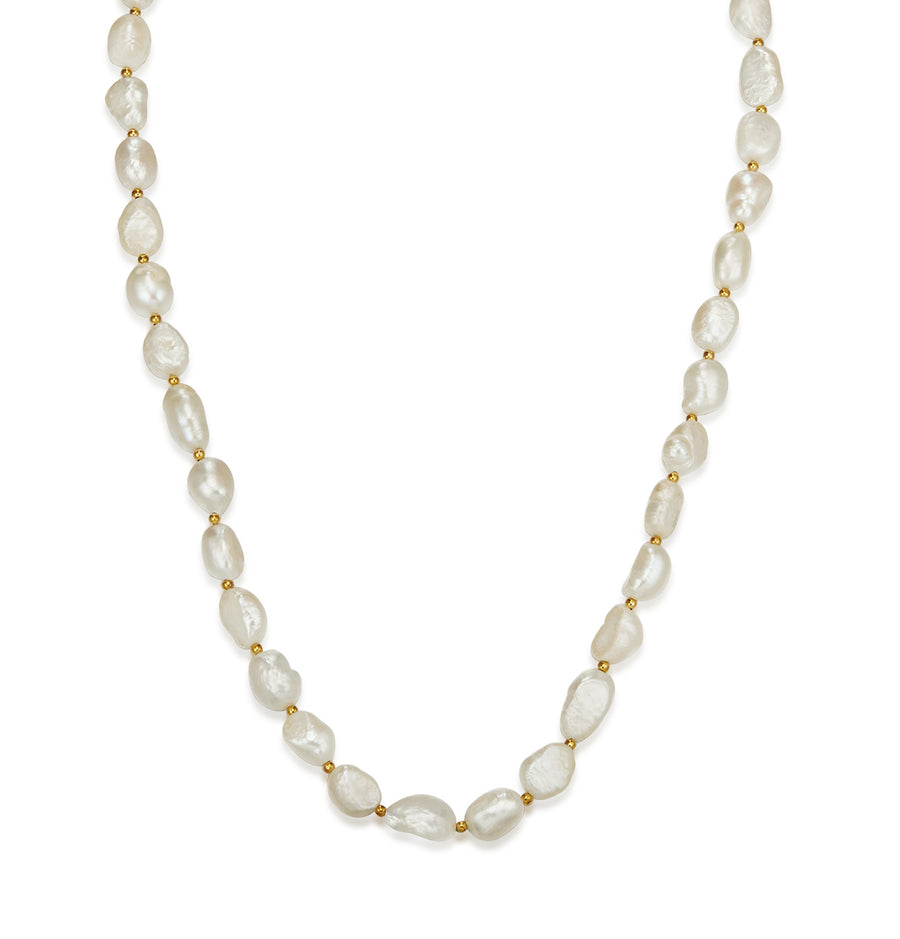 Gold Baroque Petite Pearl Necklace 50cm