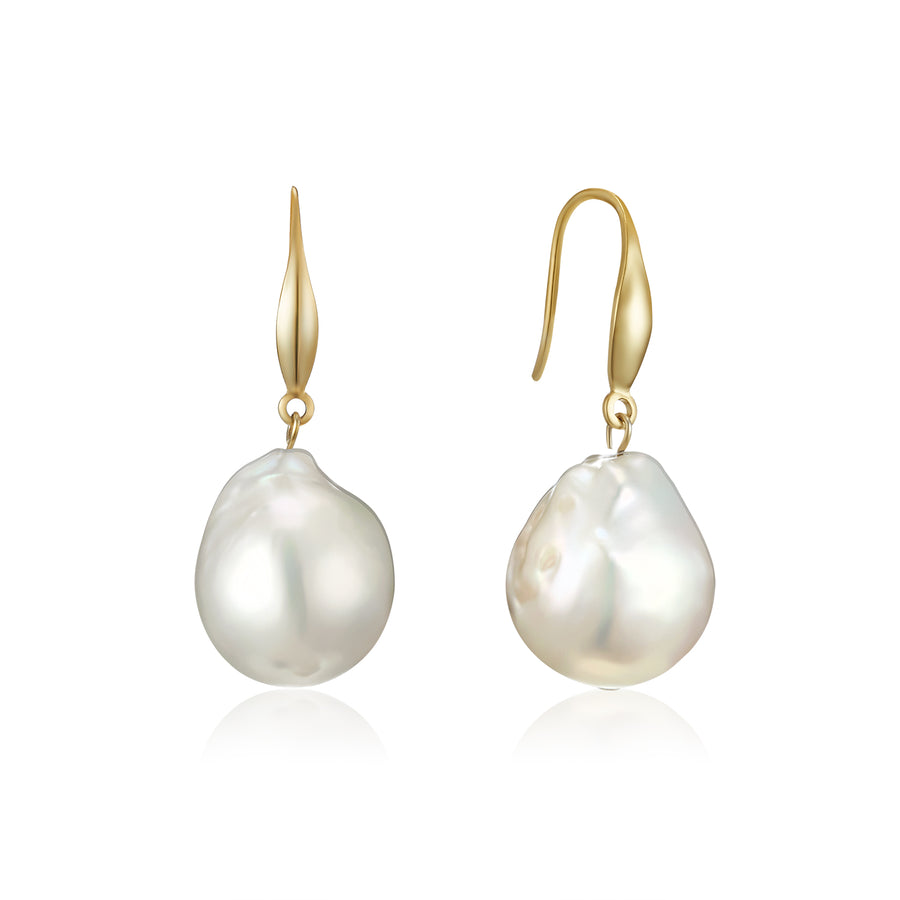 Authentic Gold Baroque Pearl Earrings