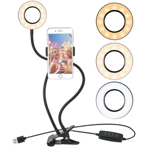 Phone Selfie Light with Stand Dimmable Ring Light 3 Light Mode 10 Level Free - Desire Lust Sex LoveHoney