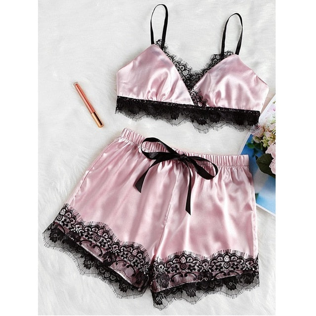 2PCS Set Women Sexy Satin Lace Sleepwear Nightdress Pajamas Free - Desire Lust Sex LoveHoney
