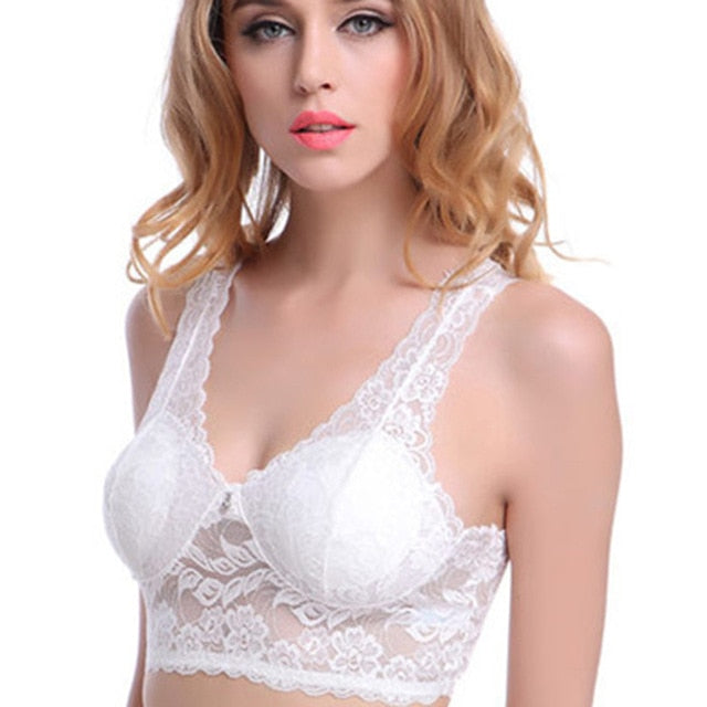 Embroidery See Through Bra Push Up Women Plus Size Bralette Bra Free - Desire Lust Sex LoveHoney