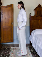Jeanneret Palazzo Trousers - Linen with Phulkari Embroidery