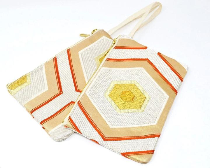 Honey Bee - Handmade Vintage Silk Wristlet
