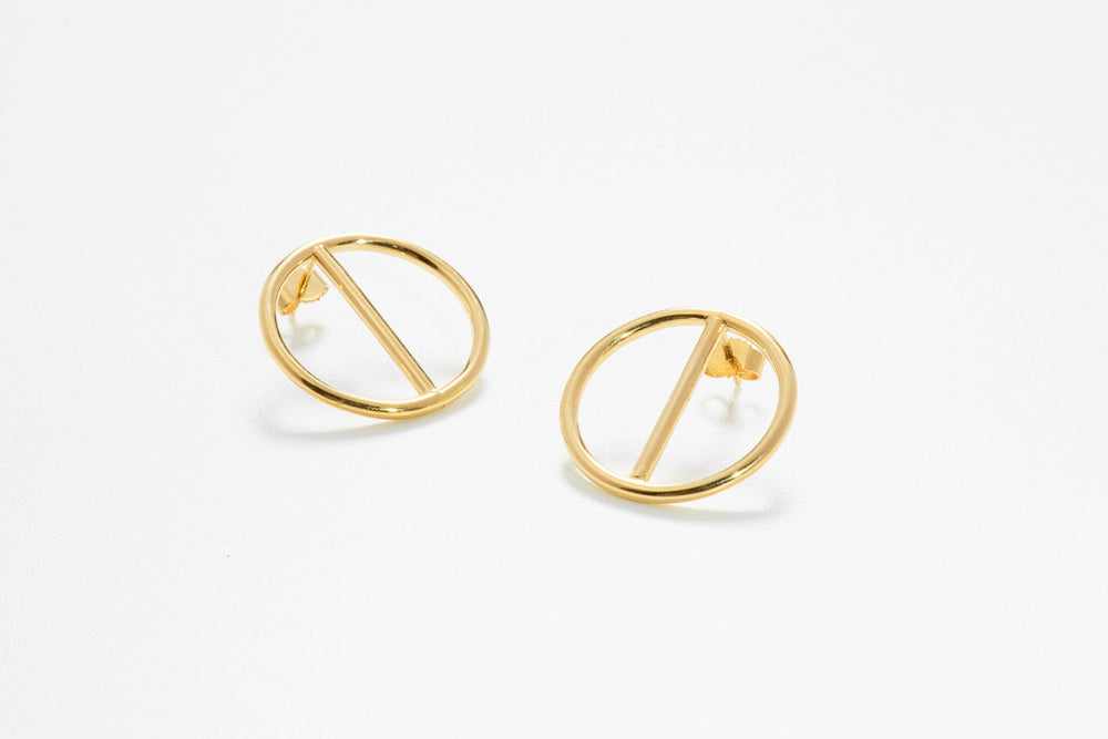 Circles Stud Earrings - Gelbgold 585