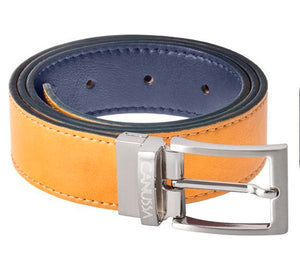 Reverse Vegan Belt – blue/camel