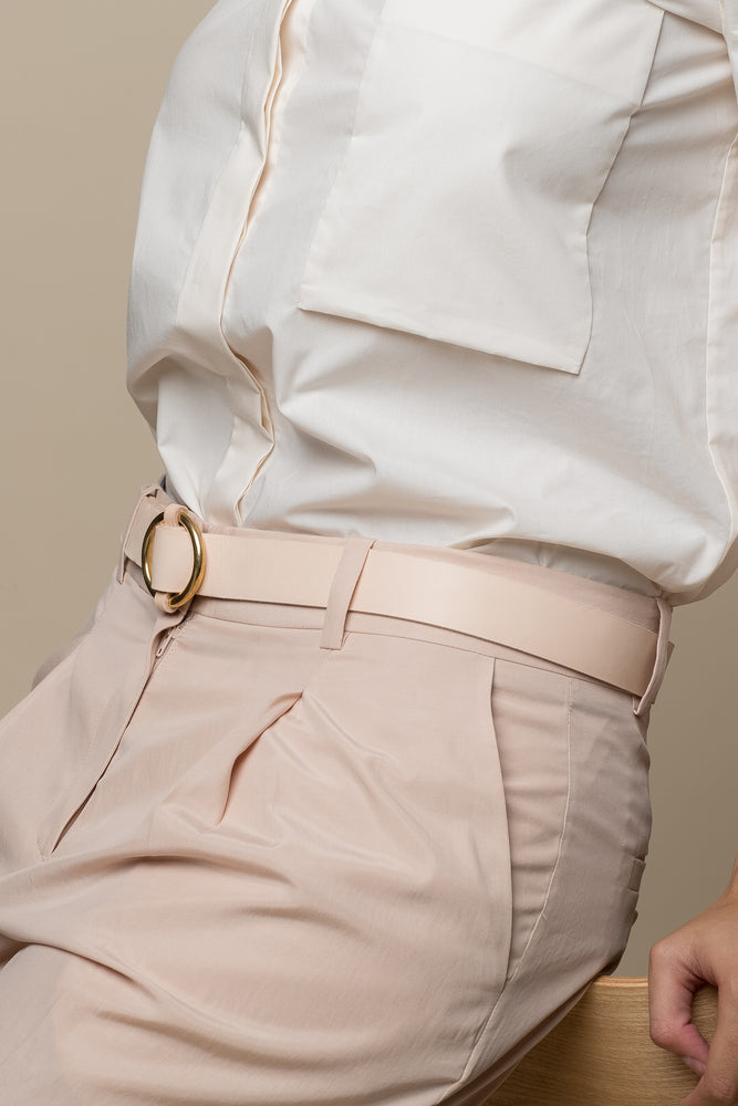 Ring Leather Belt - Taupe
