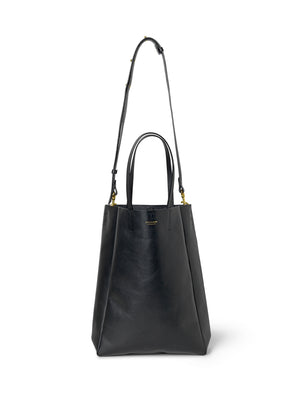 SHOPPER - TALL BLACK SKIN WITH BRASS DETAILS - BLACK