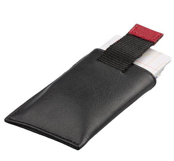 Vegan Card Holder Wallet SLIM - black/red