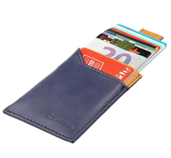 Vegan Card Holder Wallet SLIM - blue/camel