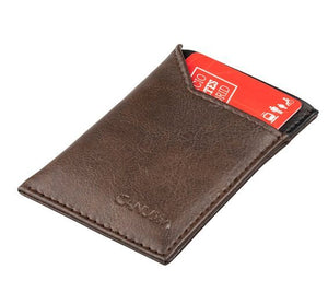 Vegan Card Holder Wallet SLIM - brown/black
