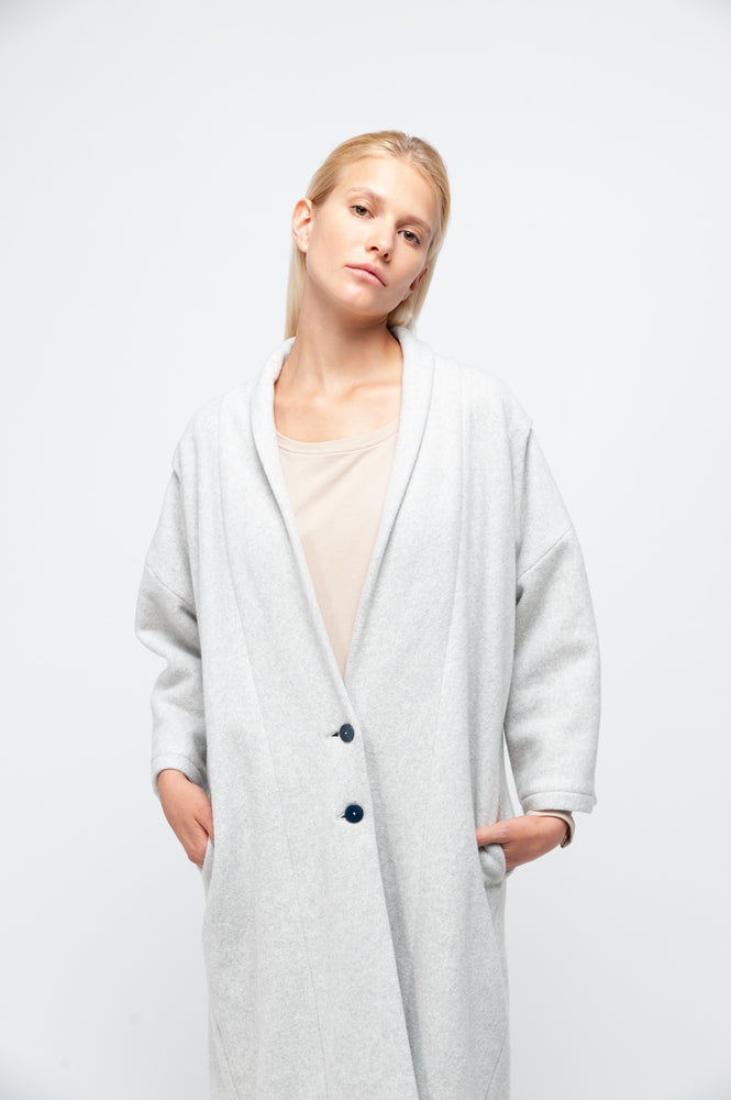 EILEEN Coat dusty grey fleece