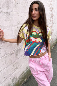 Rolling Stones Multi-color Tongue Cropped Tee
