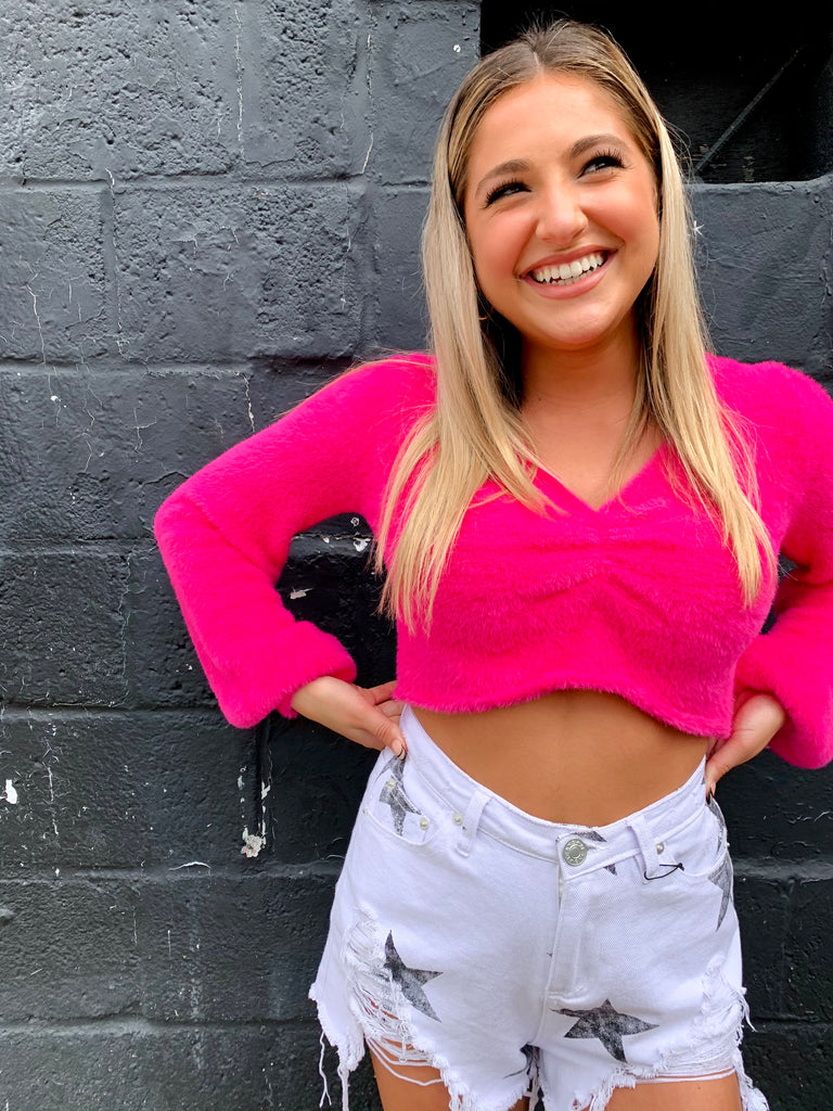Hot Pink Cropped and Cozy Sweater