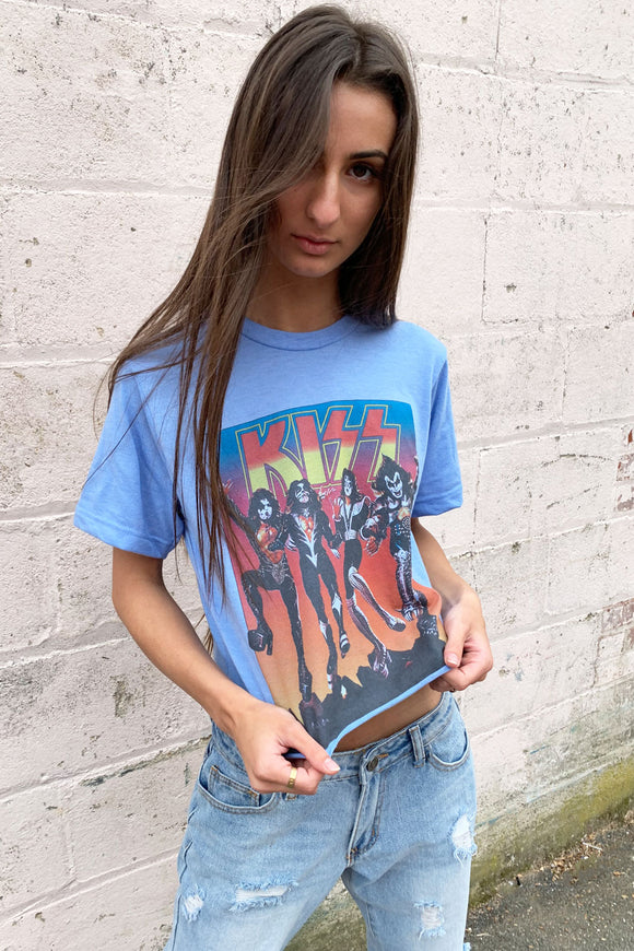 Kiss Blue Cropped Tee