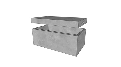CONCRETE STORAGE BOX (WITH REMOVABLE LID)