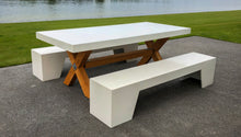 Load image into Gallery viewer, CONCRETE DINING TABLES RECTANGLE (GRC) TIMBER BASE