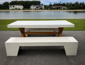 CONCRETE DINING TABLES RECTANGLE (GRC) TIMBER BASE