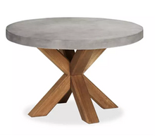 Load image into Gallery viewer, CONCRETE DINING TABLES ROUND (GRC) WOODEN LEGS