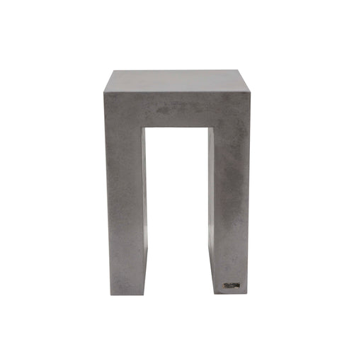 60cm high concrete side end table shown in urban grey colour. upside down u shape with square edges