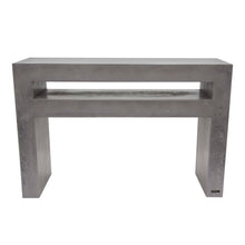 Load image into Gallery viewer, 80cm high and 120cm wide square edged concrete tv unit shown in urban grey colour with a 10cm shelf for dvd and sky decoder