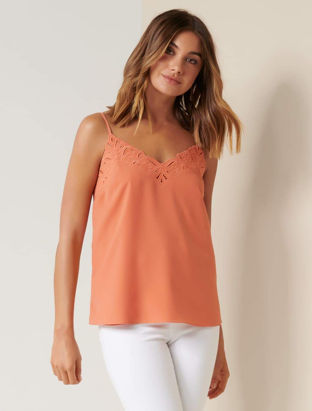 Ever New Rose Embroidered Cutwork Cami