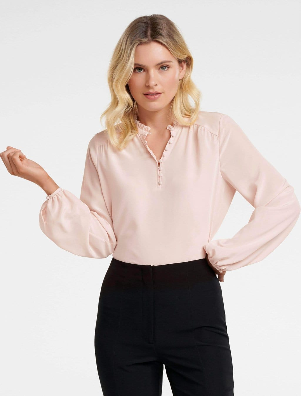 Ever New Jayde Silk Open Placket Blouse