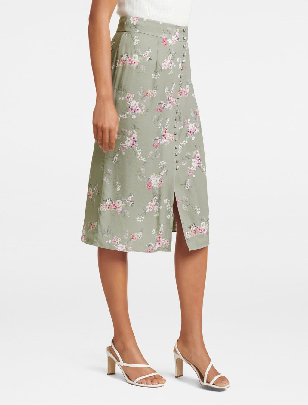 Ever New Sage Button Front Skirt
