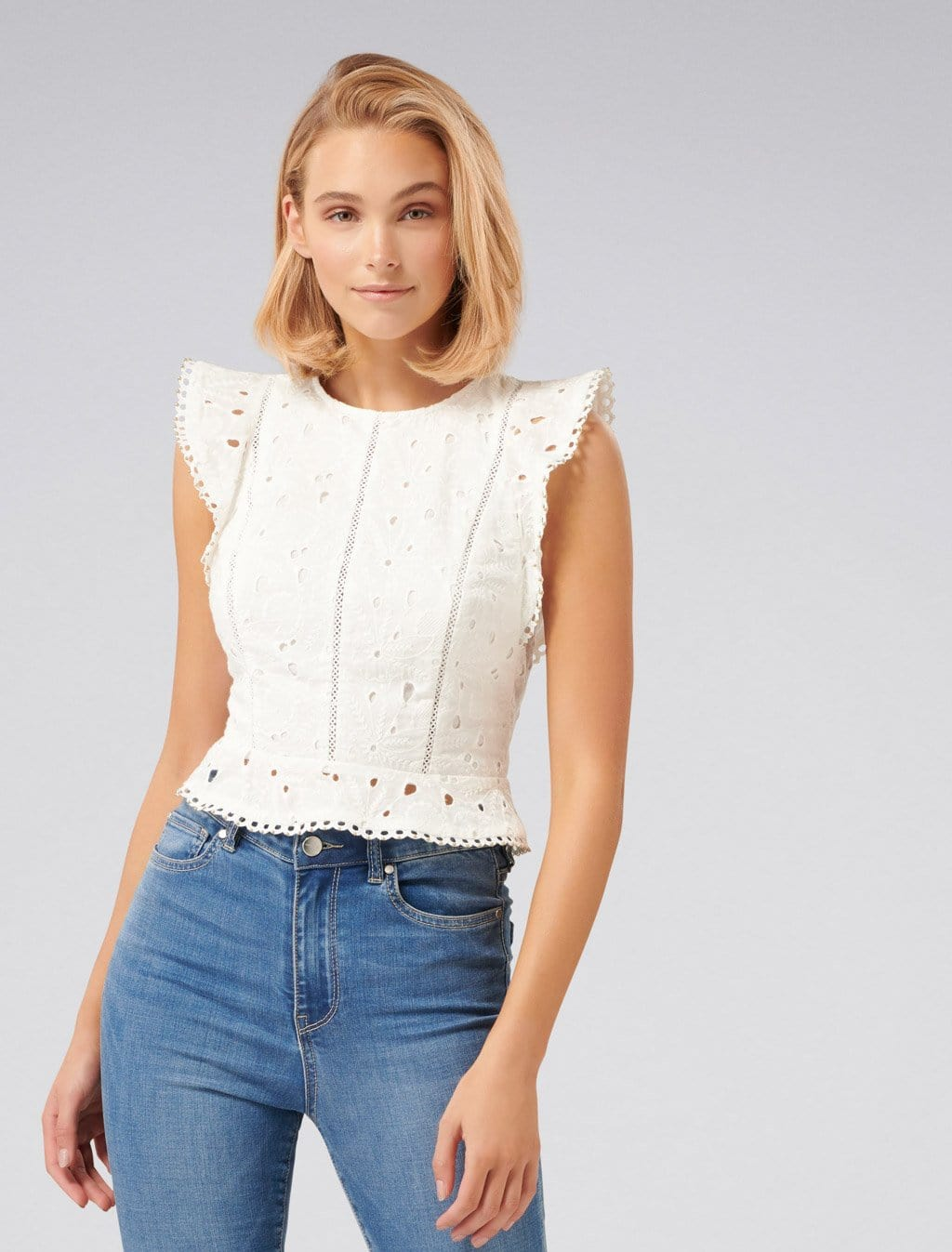 Ever New Adeline Embroidered Crop