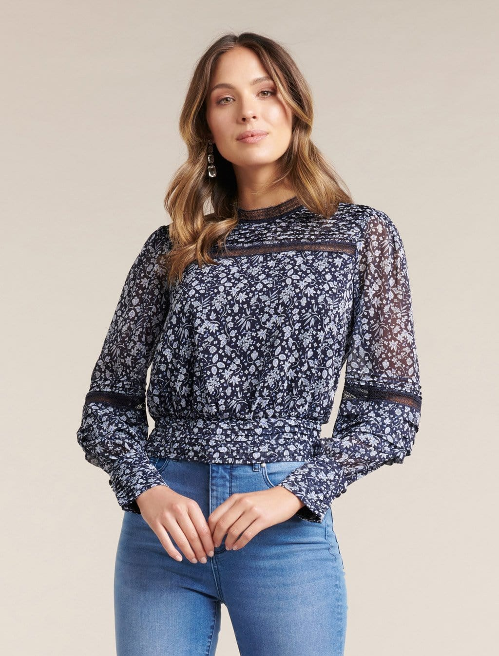 Ever New Norah Pintuck Ditsy Blouse